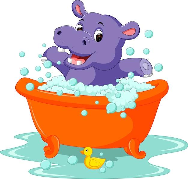 Lindo bebé hipopótamo dibujos animados