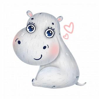 Lindo bebé hipopótamo con grandes ojos y corazones sobre un fondo blanco.