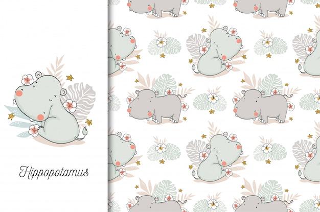 Lindo bebé hipopótamo personaje de dibujos animados animales de la selva y patrones sin fisuras