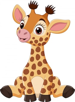 Lindo bebé jirafa de dibujos animados sentado