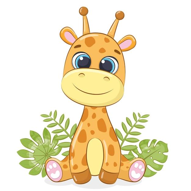 Lindo bebé jirafa con hojas tropicales. ilustración vectorial.