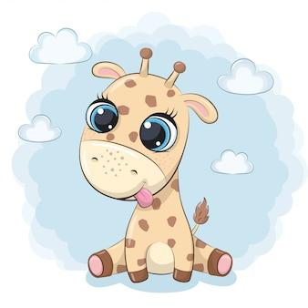 Lindo bebé jirafa ilustración para baby shower, tarjeta de felicitación, invitación de fiesta, impresión de camiseta de ropa de moda.