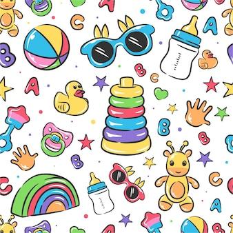 Lindo bebé juguetes de patrones sin fisuras