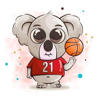 Lindo bebé koala personaje de dibujos animados e ilustración de baloncesto