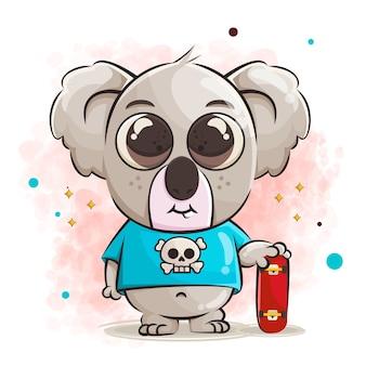 Lindo bebé koala personaje de dibujos animados y patineta ilustración