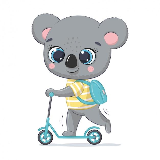Lindo bebé koala en el scooter. ilustración para baby shower, tarjetas de felicitación, invitación de fiesta, impresión de camiseta de ropa de moda.