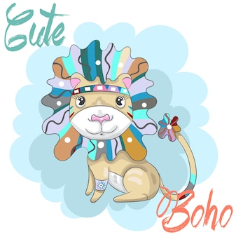 Lindo bebé león boho dibujos animados dibujado a mano