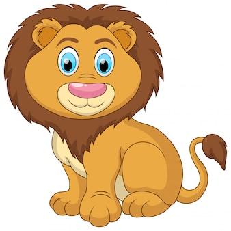 Lindo un bebé león ilustración de dibujos animados sentado