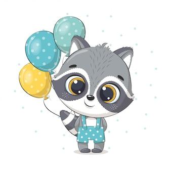 Lindo bebé mapache con globos. ilustración para baby shower, tarjeta de felicitación, invitación de fiesta, impresión de camiseta de ropa de moda.