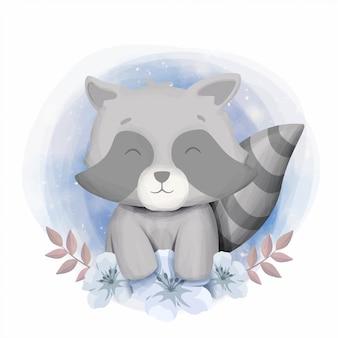 Lindo bebé mapache sonrisa retrato ilustración