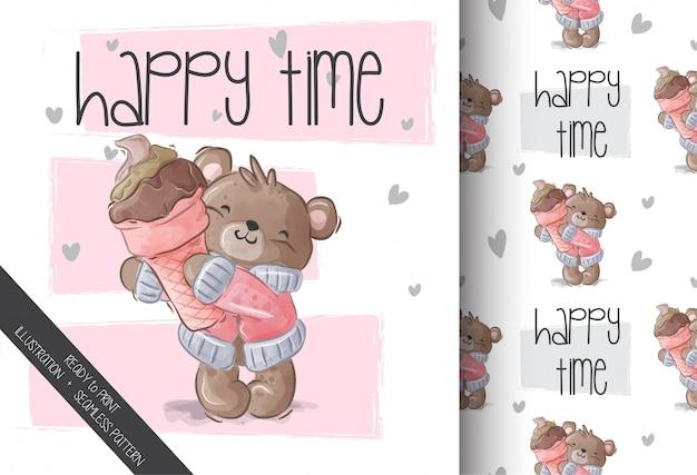 Lindo bebé oso amor helado de patrones sin fisuras