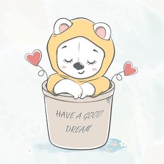 Lindo bebé oso dormir en canasta de dibujos animados de color de agua dibujado a mano