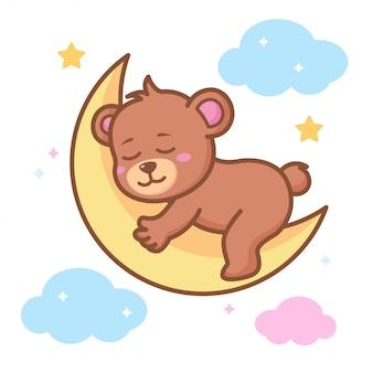 Lindo bebé oso durmiendo en la luna creciente