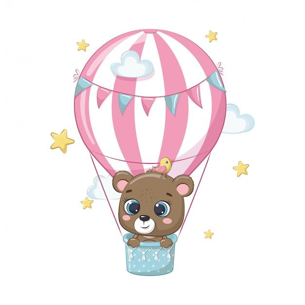 Lindo bebé oso en un globo de aire caliente. ilustración