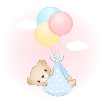 Lindo bebé oso con globo recién nacido ilustración de dibujos animados