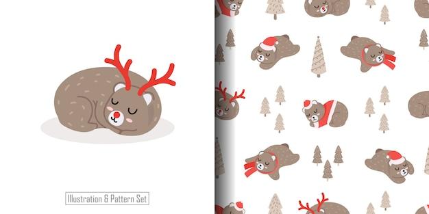 Lindo bebé oso ilustración con conjunto de patrones