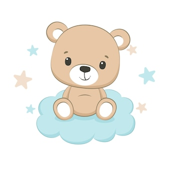 Lindo bebé oso con ilustración de nubes y estrellas