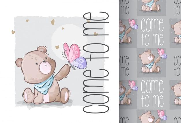 Lindo bebé oso con patrones sin fisuras de mariposa
