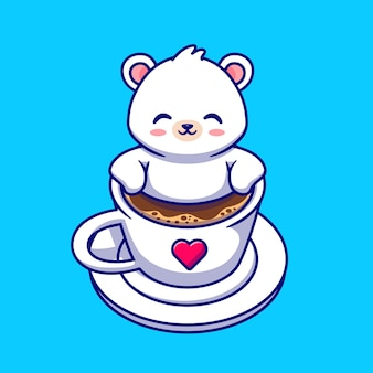 Lindo bebé oso polar en la ilustración de la taza de café