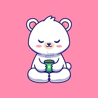 Lindo bebé oso polar con taza de café