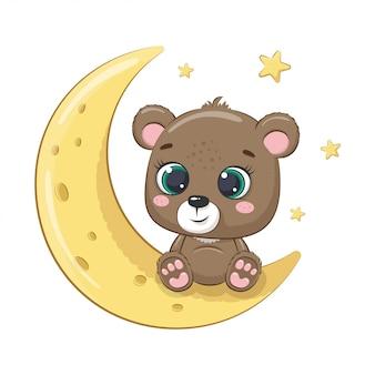 Lindo bebé oso sentado en la luna. ilustración para baby shower, tarjeta de felicitación, invitación de fiesta, impresión de camiseta de ropa de moda.