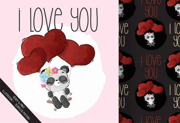 Lindo bebé panda animal feliz volando con amor rojo globos de patrones sin fisuras