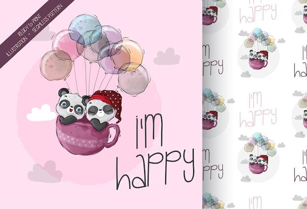 Lindo bebé panda animal feliz volando con globos de patrones sin fisuras