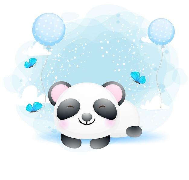 Lindo bebé panda durmiendo personaje de dibujos animados