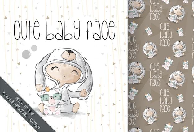 Lindo bebé con patrón sin costuras de sombrero de conejito