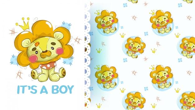 Lindo bebé peluche león con patrones sin fisuras
