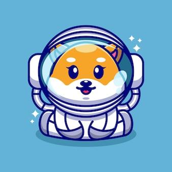 Lindo bebé perro shiba inu con un personaje de dibujos animados de traje de astronauta