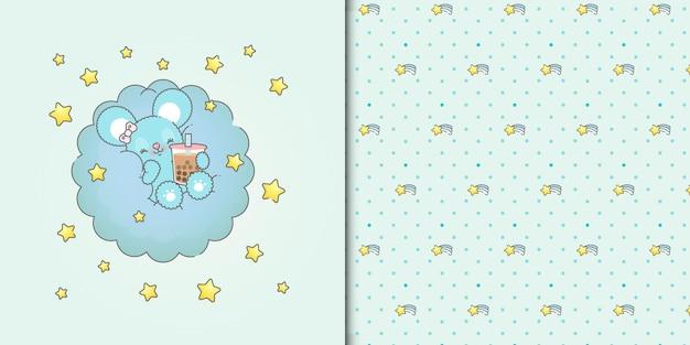 Lindo bebé ratón bebiendo batido en una nube azul con estrellas de patrones sin fisuras