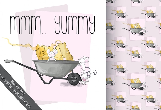 Lindo bebé ratón encantador queso de patrones sin fisuras