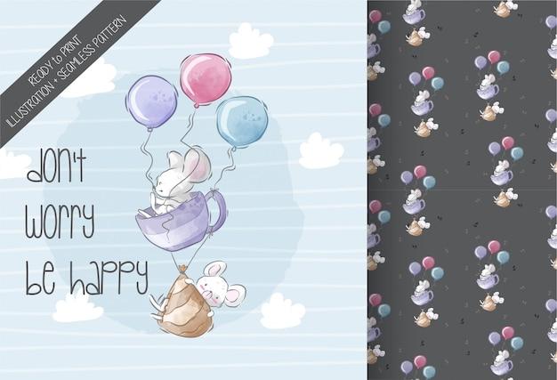Lindo bebé ratón volando ilustración de patrones sin fisuras