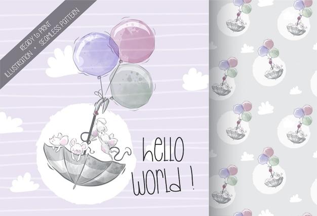 Lindo bebé ratón volando con paraguas de patrones sin fisuras