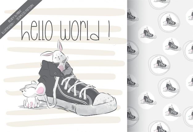Lindo bebé ratón en zapatos con patrones sin fisuras