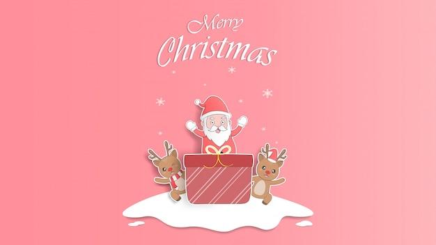 Lindo bebé reno y santa claus pastel navidad tarjeta de felicitación