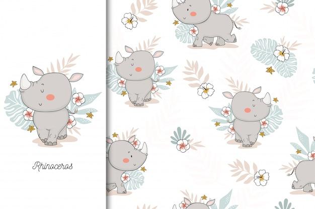 Lindo bebé rinoceronte. personaje de dibujos animados animales de la selva y patrones sin fisuras