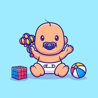 Lindo bebé sentado y jugando juguetes ilustración de dibujos animados. concepto de icono de objeto de personas