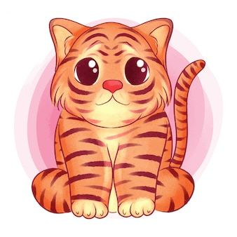 Lindo bebé tigre acuarela ilustración