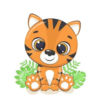 Lindo bebé tigre ilustración.