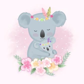 Lindo bebé tribal koala y madre