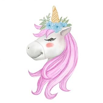 Lindo bebé unicornio con corona de flores acuarela ilustración