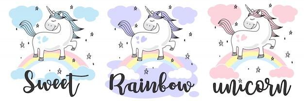 Lindo bebé unicornio doodle sketch