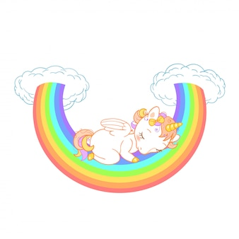 Lindo bebé unicornio durmiendo en el arco iris con nubes. ilustración para diseño de niños.