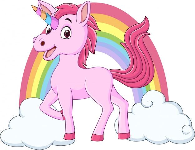 Lindo bebé unicornio con nubes y arcoiris