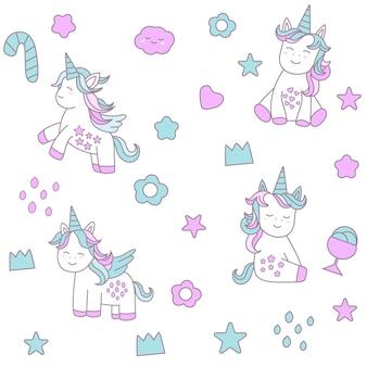 Lindo bebé unicornio de patrones sin fisuras