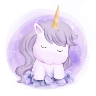 Lindo bebé unicornio siente sueño