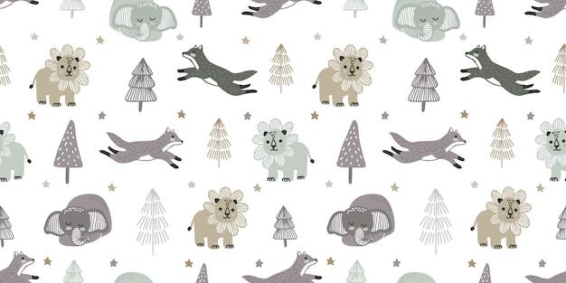 Lindo bebé zoológico animal de patrones sin fisuras