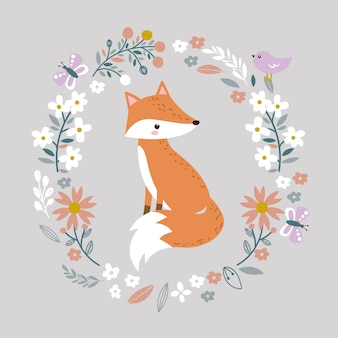 Lindo bebé zorro e ilustración floral